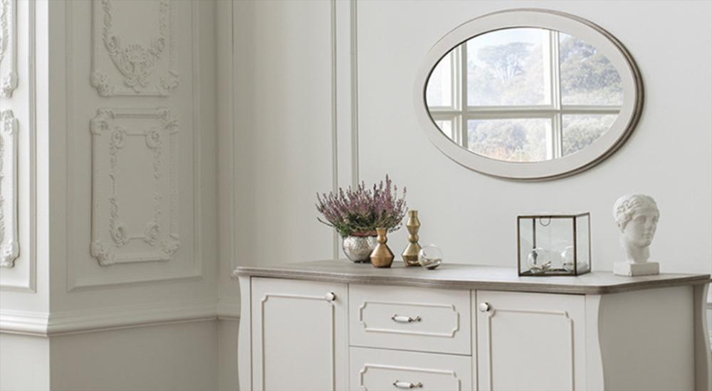 white console and mirror