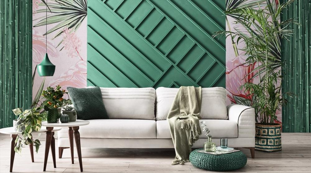 modern living room in shades of green