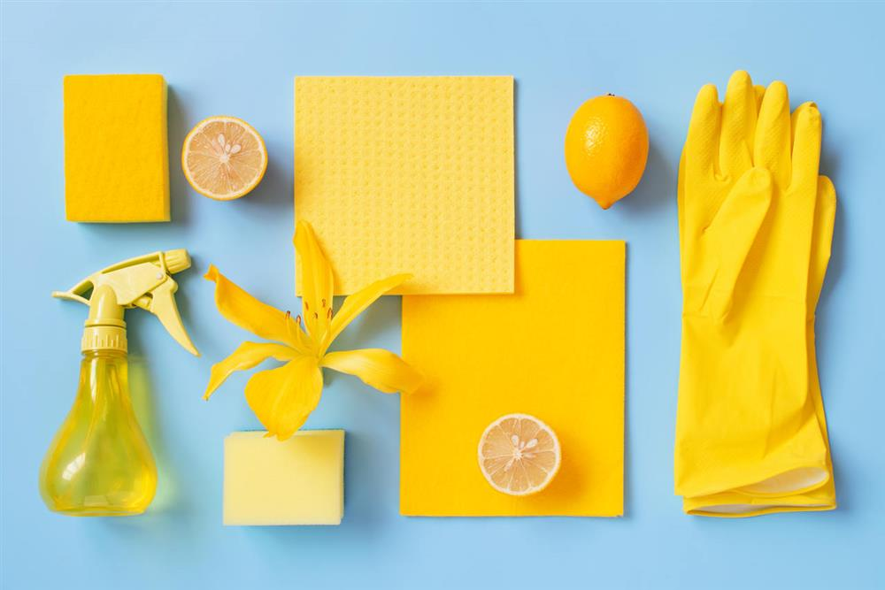 yellow cleaning supplies