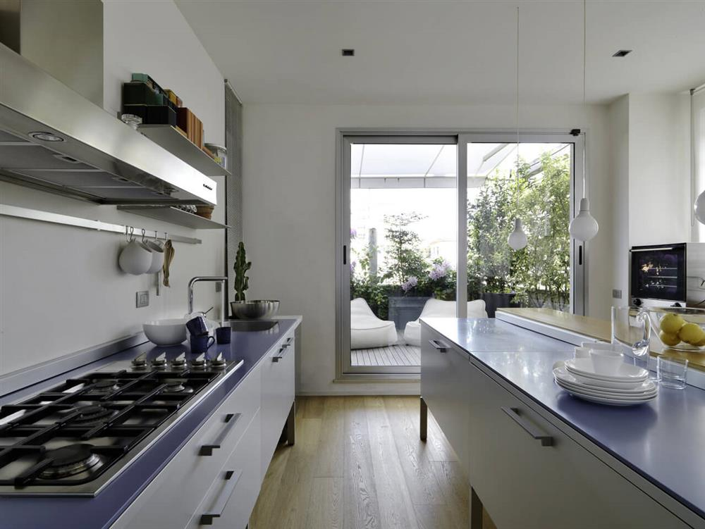 interiors of a modern kitchen that has an island kitchen