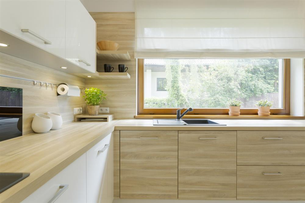 modern kitchen with Woden cabinets
