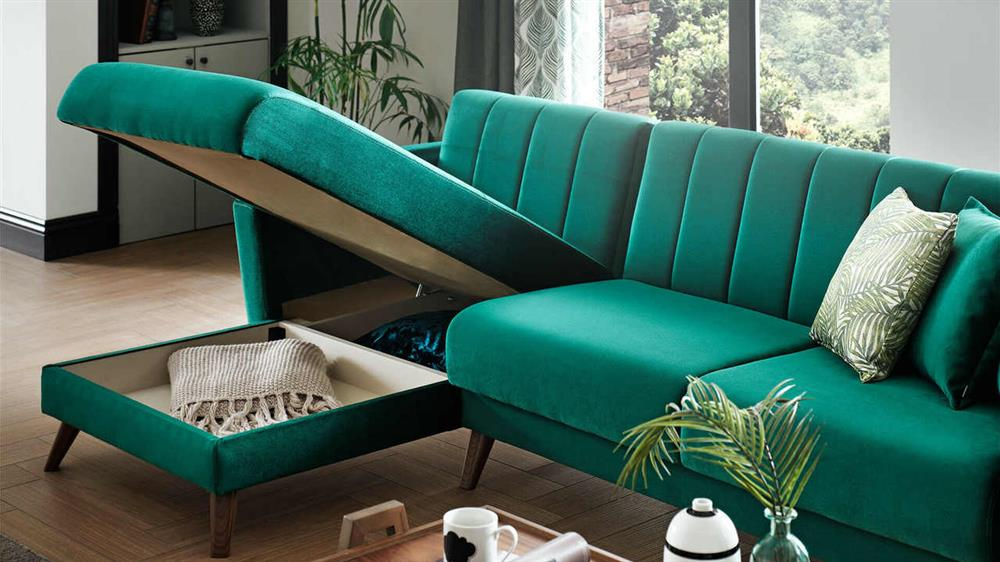 A sleeper sectional sofa with a storage