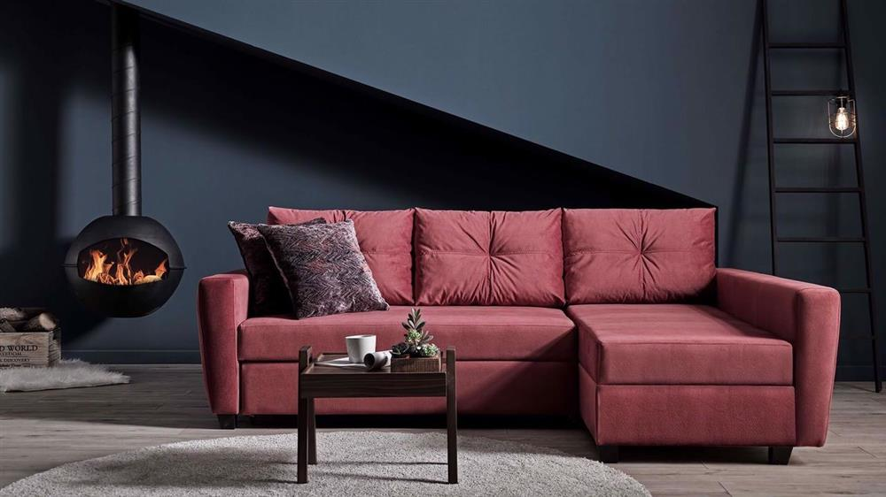 Red colored L-shaped sofa
